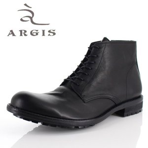 アルジス 靴 レザーブーツ メンズ 本革 プレーントゥ レースアップ ブラック 62207 タンクソール ショートブーツ カジュアル 革靴 日本製 セール|washington