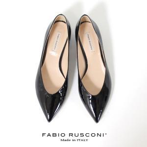 ファビオルスコーニ FABIO RUSCONI パンプス 靴 71144 エナメル ポインテッドトゥ フラット 本革 ローヒール 黒 ブラック|washington
