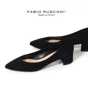 ファビオルスコーニ FABIO RUSCONI パンプス 靴 81106 スエード ポインテッドトゥ チャンキーヒール 本革 ローヒール 黒 ブラック|washington