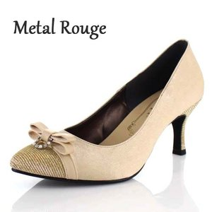 Metal Rouge メタルルージュ 靴 164 パンプス パーティー リボン ビジュー ヒール ラメ ベージュ レディース|washington