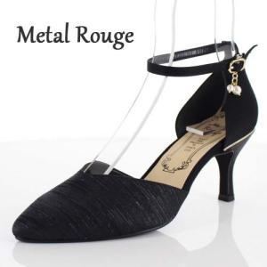 Metal Rouge メタルルージュ 靴 745 パンプス セパレート パーティー チャーム ヒール ラメ ストラップ 黒 ブラック レディース|washington