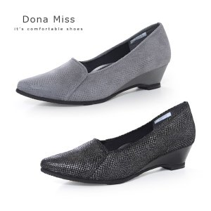 コンフォート パンプス Dona Miss ドナミス 靴 9003 ワイズ 3E 本革 ローヒール ウエッジソール レディース パイソン ヘビ柄|washington
