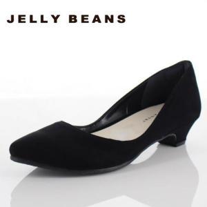 JELLY BEANS ジェリービーンズ 靴 2401 パンプス プレーンパンプス ローヒール アーモンドトゥ 黒 ブラック レディース|washington