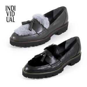 INDIVIDUAL インディヴィジュアル ラボキゴシ 靴 6356 本革 ローファー タッセル 厚底 マニッシュシューズ レディース セール|washington
