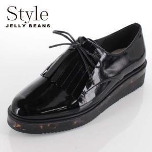 STYLE JELLY BEANS ジェリービーンズ 靴 908 シューズ 厚底 マニッシュ レースアップ 2way キルト べっ甲 黒 ブラック レディース|washington