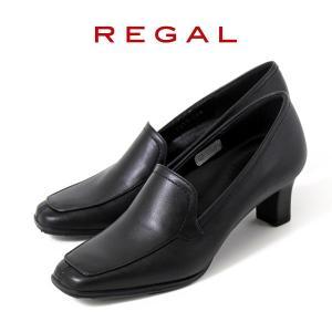 リーガル レディース パンプス ローファー フォーマル 靴 REGAL 5 ブラック 黒 ヒール 撥水 本革 モカシン 仕事 オフィス ビジネス|washington