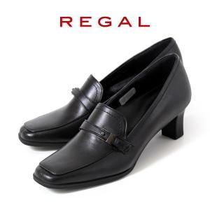 リーガル レディース パンプス ローファー フォーマル 靴 REGAL 6 ブラック 黒 ヒール 撥水 本革 モカシン 仕事 オフィス ビジネス|washington