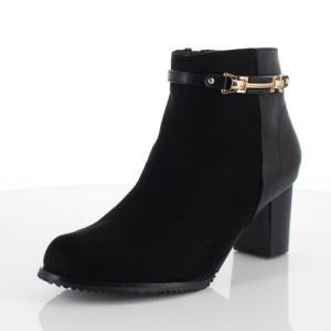 DUOMO SIENA デュオモシエナ 靴 1852 ブーツ ヒール ショートブーツ サイドジップ 防水 防滑 消臭 黒 ブラック レディース|washington
