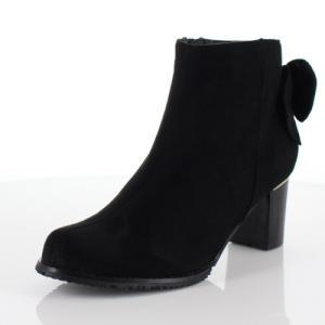 DUOMO SIENA デュオモシエナ 靴 1855 ブーツ ヒール ショートブーツ サイドジップ バックリボン 防水 黒 ブラック レディース|washington