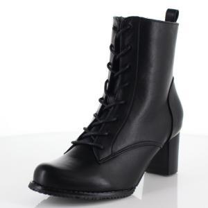 DUOMO SIENA デュオモシエナ 靴 1856 ブーツ ヒール ミドルブーツ サイドジップ レースアップ 編み上げ 防水 黒 ブラック レディース|washington