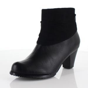 DUOMO SIENA デュオモシエナ 靴 2464 ブーツ ヒール ショートブーツ サイドジップ シンプル 防水 黒 ブラック レディース|washington