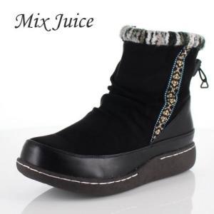Mix Juice ミックスジュース 靴 2508 ブーツ ショートブーツ 撥水加工 ファスナー 防滑 ローヒール リブニット ブラック 黒 レディース|washington