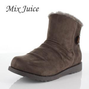 Mix Juice ミックスジュース 靴 2518 ブーツ ショートブーツ ムートン 撥水加工 サイドゴア ローヒール スエード グレー 灰色 レディース|washington