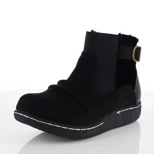 LOILO ロイロ 靴 9401 サイドゴア ショートブーツ 撥水 ベルト ローヒール カジュアル ボア ウインターブーツ 黒 ブラック レディース|washington