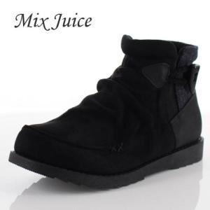 Mix Juice ミックスジュース 靴 9434 ブーツ ショートブーツ 撥水加工 サイドゴア 防滑 ローヒール ベロア調 ブラック 黒 レディース|washington