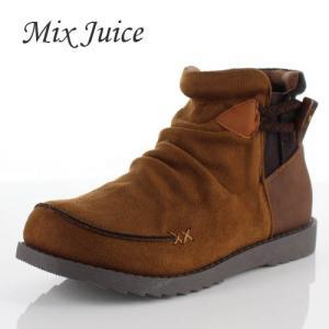 Mix Juice ミックスジュース 靴 9434 ブーツ ショートブーツ 撥水加工 サイドゴア 防滑 ローヒール ベロア調 ブラウン 茶色 レディース|washington