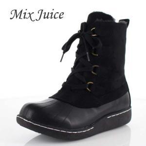 Mix Juice ミックスジュース 靴 2512 ブーツ ショートブーツ 撥水加工 レースアップ ボア ローヒール スエード ブラック 黒 レディース|washington