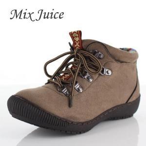 Mix Juice ミックスジュース 靴 9238 ブーツ ショートブーツ 撥水加工 レースアップ リブニット スエード オーク ブラウン レディース|washington