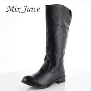 Mix Juice ミックスジュース 靴 778 ブーツ ロングブーツ ジョッキーブーツ 保温 ローヒール あったか 幅広 黒 ブラック レディース|washington