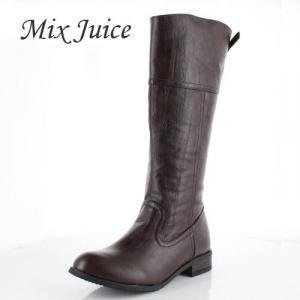 Mix Juice ミックスジュース 靴 778 ブーツ ロングブーツ ジョッキーブーツ 保温 ローヒール あったか 幅広 ダークブラウン レディース|washington