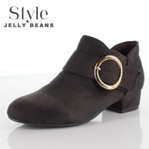 STYLE JELLY BEANS ジェリービーンズ 靴 1611 ブーツ ブーティ ショート ヒール バックル ベルト グレー レディース セール washington
