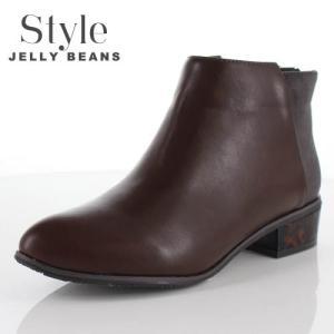 STYLE JELLY BEANS ジェリービーンズ 靴 2328 ブーツ ブーティ ポインテッドトゥ ショート ローヒール ブラウン レディース セール washington
