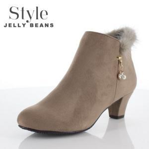 STYLE JELLY BEANS ジェリービーンズ 靴 2336 ブーツ ブーティ サイドチャーム ショート ヒール ファー オーク ベージュ レディース セール washington