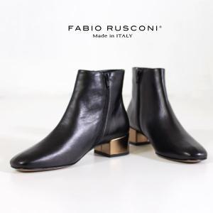 ファビオルスコーニ FABIO RUSCONI ショートブーツ 靴 83014 メタリック デザインヒール 本革 ローヒール 黒 ブラック セール|washington