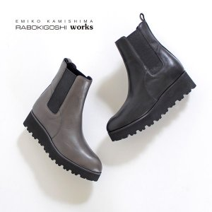 RABOKIGOSHI works ブーツ ラボキゴシ ワークス 靴 12106 サイドゴアブーツ 撥水 本革 厚底 ショートブーツ レディース 軽量 セール|washington