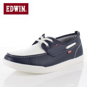 エドウィン EDWIN EDW-7157 ホワイト ネイビー デッキシューズ スニーカー 軽量 メンズ 靴 カジュアルシューズ|washington
