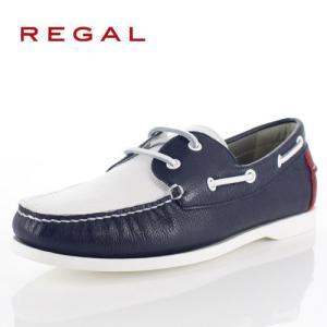リーガル 靴 メンズ REGAL 55TRAF ホワイト トリコロール カジュアルシューズ デッキシューズ 2E 本革 紳士靴 特典B|washington
