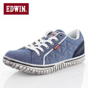 EDWIN エドウィン ED-7533 BLUE サイドキルト スニーカー カジュアル 軽量 カップインソール ローカット メンズ ブルー|washington