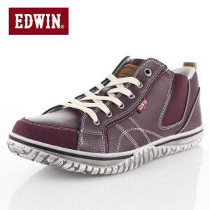 EDWIN エドウィン EDW-7539 BURGUNDY メンズ スニーカー カジュアル 軽量 カップインソール ミッドカット サイドゴア レッド|washington