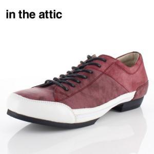 メンズ カジュアルシューズ in the attic インジアティック 195-1018 WINE レッド レースアップ 外羽根式 靴 紳士靴|washington