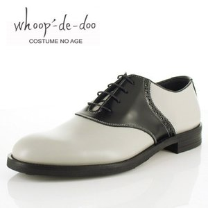 メンズ カジュアルシューズ フープディドゥ whoop-de-doo 108614 グレー サドルシューズ ラウンドトゥ 内羽根式 靴  本革 日本製|washington