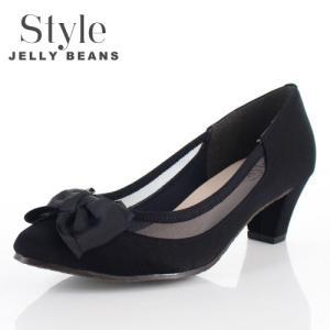 STYLE JELLY BEANS ジェリービーンズ 靴 1759 パンプス シアー 5cmヒール リボン 黒 ブラック 日本製 レディース|washington