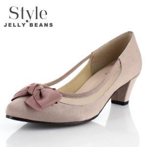 STYLE JELLY BEANS ジェリービーンズ 靴 1759 パンプス シアー 5cmヒール リボン オーク ベージュ 日本製 レディース|washington