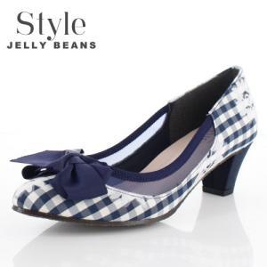 STYLE JELLY BEANS ジェリービーンズ 靴 1759 パンプス シアー 5cmヒール リボン ネイビー チェック 花柄 日本製 レディース|washington