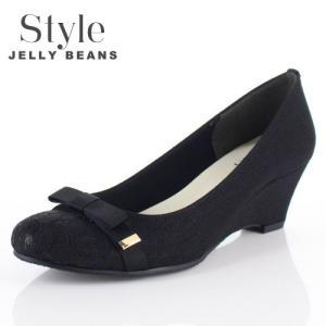 STYLE JELLY BEANS ジェリービーンズ 靴 3539 パンプス ラウンドトゥ 生地 レース ウェッジソール リボン 黒 ブラック レディース|washington