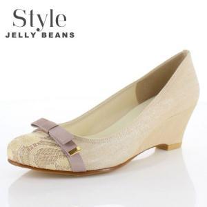 STYLE JELLY BEANS ジェリービーンズ 靴 3539 パンプス ラウンドトゥ 生地 レース ウェッジソール リボン ベージュ レディース|washington