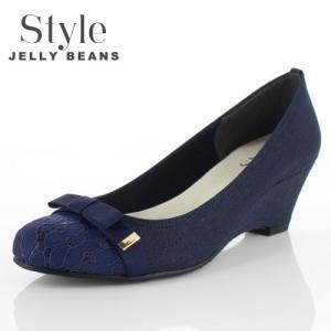 STYLE JELLY BEANS ジェリービーンズ 靴 3539 パンプス ラウンドトゥ 生地 レース ウェッジソール リボン 紺 ネイビー レディース|washington