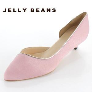 JELLY BEANS ジェリービーンズ 靴 4003 パンプス サイドオープン ふわさら アーモンドトゥ キトゥンヒール ピンク 日本製 レディース|washington