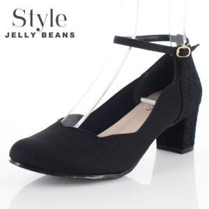 STYLE JELLY BEANS ジェリービーンズ 靴 4658 パンプス アンクルストラップ ラウンドトゥ レース 黒 ブラック 日本製 レディース|washington