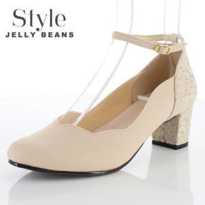 STYLE JELLY BEANS ジェリービーンズ 靴 4658 パンプス アンクルストラップ ラウンドトゥ レース ベージュ 日本製 レディース|washington
