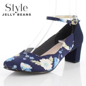 STYLE JELLY BEANS ジェリービーンズ 靴 4658 パンプス アンクルストラップ ラウンドトゥ 花柄 ネイビー 紺 日本製 レディース|washington