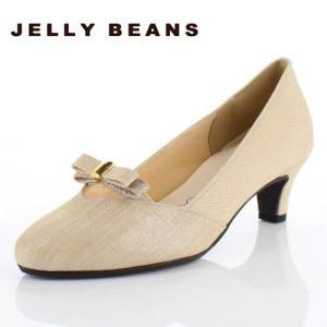JELLY BEANS ジェリービーンズ 靴 5210 アーモンドトゥ パンプス リボン シンプル ヒール ベージュ レディース|washington