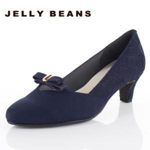 JELLY BEANS ジェリービーンズ 靴 5210 アーモンドトゥ パンプス リボン シンプル ヒール ネイビー 紺 レディース|washington
