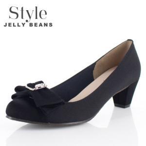 STYLE JELLY BEANS ジェリービーンズ 靴 5347 パンプス ヒール リボン ビジュー 黒 ブラック 結婚式 パーティー レディース|washington