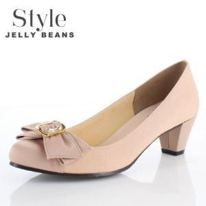 STYLE JELLY BEANS ジェリービーンズ 靴 5347 パンプス ヒール リボン ビジュー ピンク 結婚式 パーティー レディース|washington