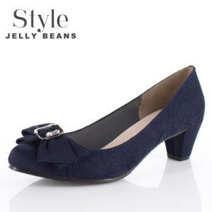 STYLE JELLY BEANS ジェリービーンズ 靴 5347 パンプス ヒール リボン ビジュー ネイビー レース 結婚式 パーティー レディース|washington